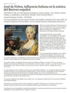 Docenotas Crítica CD Requiem José de Nebra José Antonio Montaño La Madrileña Coro Victoria Schola Antiqua Pan Classics