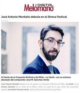 Melómano La chute de la maison Usher José Antonio Montaño Director Orchestra Sinfonica Milano La Verdi Orquesta Sinfónica de Milan José María Sánchez-Verdú Stresa festival