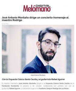 Melómano director José Antonio Montaño guitarrista Rafael Aguirre Concierto Homenaje a Joaquín Rodrigo Orquesta Clásica Santa Cecilia